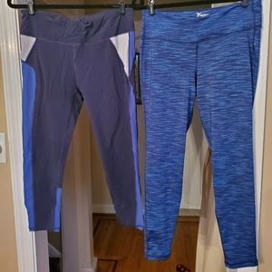 TWO BLUE pairs of workout tights! Size L